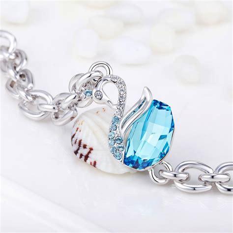 bracelet swarovski bleu bracelet cygne en cristal de swarovski elements bleu et