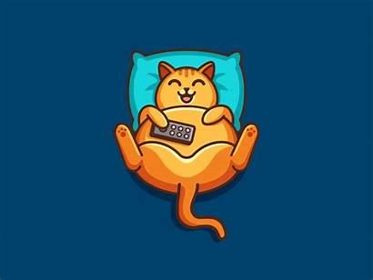 Watching Motion Cat Graphic Cartoon Animated Tv