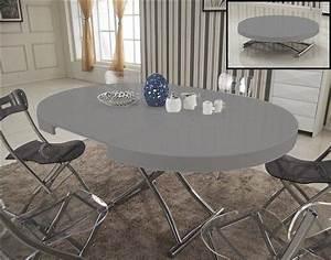 Table Ronde Grise : table basse ronde relevable et extensible saturna blanche ~ Teatrodelosmanantiales.com Idées de Décoration