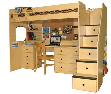 10 Best Loft Bed With Desk Designs by Advantages Of Wood Loft Bed With Desk Stylish Home
