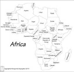 Black and White Map of Africa with Countries Labeled