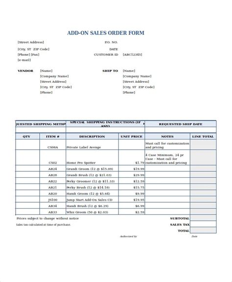 excel order form template   excel documents