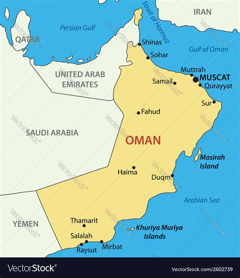 sultanate  oman map royalty  vector image