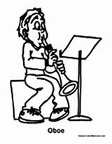 Oboe Coloring Pages Music Playing Boy sketch template