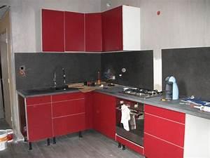 ophreycom cuisine ikea rouge laquee prelevement d With deco cuisine rouge et grise