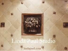 accent tiles for kitchen backsplash fruit basket metal and mosaic tile medallion kitchen backsplash
