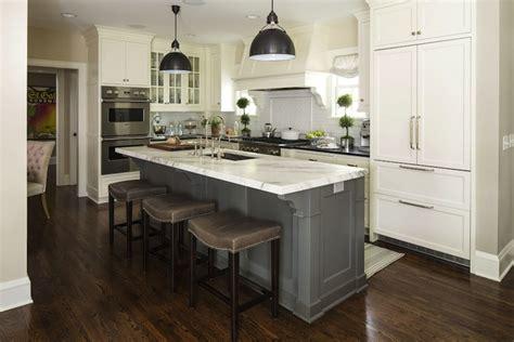 two tone kitchen island gray barstools transitional kitchen benjamin 6437