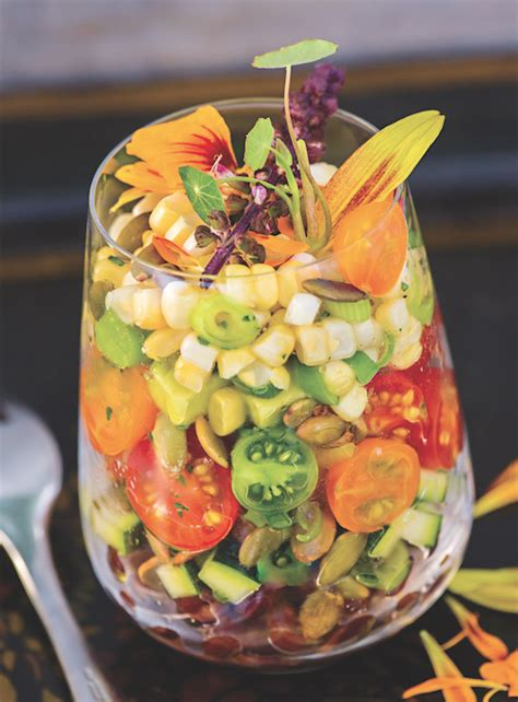 layered black bean salad  zucchini corn  avocado