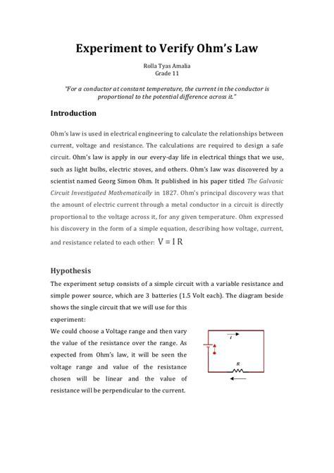 experiment  verify ohms law
