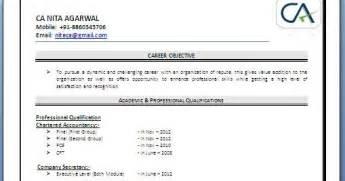 resume format for ca articleship ca fresher resume sle