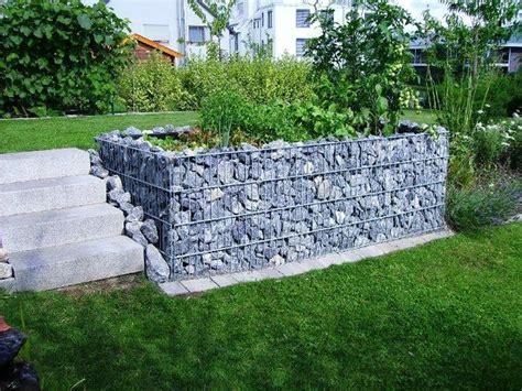 Steinmauer Gitter  Zaungabionen Gabionenkaiserde