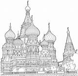 Cathedral Basil Moscow Saint Colouring Amazing Fantastic Printable sketch template