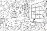 Coloring Living African Interior Pages Adult Hawaii Printable Drawing Games Supercoloring Coloringonly Categories Play Architecture Culture Paper sketch template