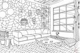 Coloring Living African Interior Printable Hawaii Adult Drawing Supercoloring Coloringonly Categories Culture sketch template