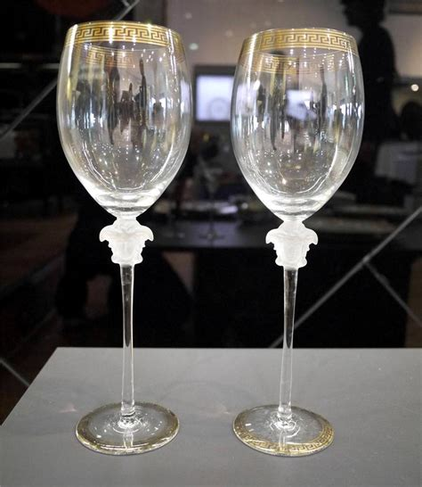 1376 versace wine glasses rrp 899 pair rosenthal versace quot medusa d or quot