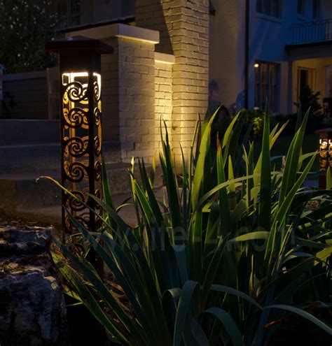 decorative steel bollard lights modern outdoor