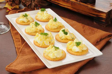 and easy canapes herbed egg canapé recipe with dijon mustard by archana 39 s