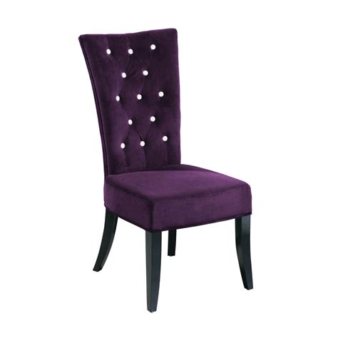 set of 2 radiance high back cushioned dining chairs velvet