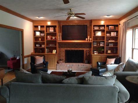 Living Room With Fireplace And Bookshelves by Honey Oak Built In Bookshelves
