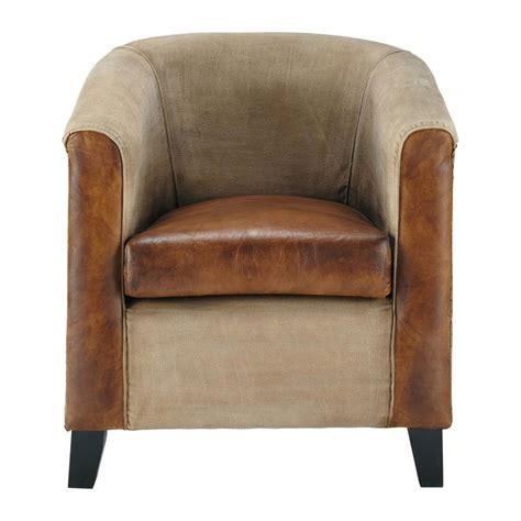 fauteuil maisons du monde fauteuil en coton recycl 233 et cuir de ch 232 vre marron