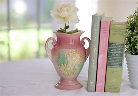 vintage hull pottery floral pink ceramic vase sunglow was 55 00 now 42 00