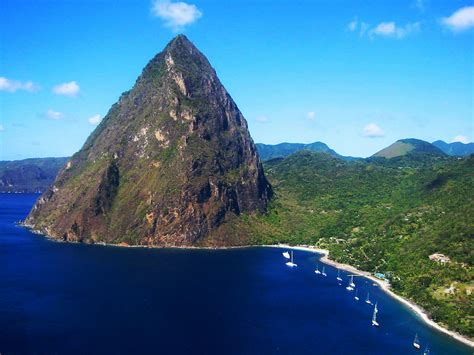 Petit Piton, St Lucia   Seen from a helicopter landing at ...
