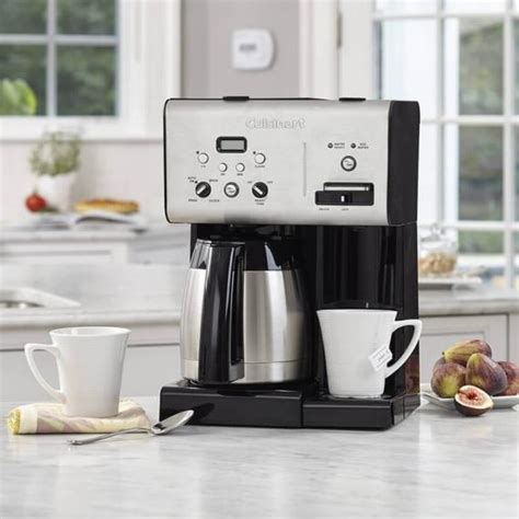 Brushed stainless steel, black plastic, and blue lights around you might benefit from keeping the instruction manual handy for the first few times you use this machine. Cuisinart® Coffee Plus™ 10 Cup Programmable Coffeemaker plus Hot Water System