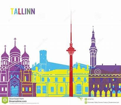 Tallinn Skyline Pop Vector Illustration
