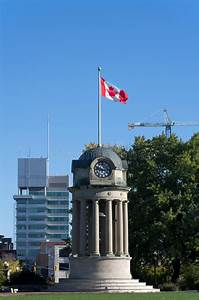 Clock Tower In Kitchener  Canada Stock Photo