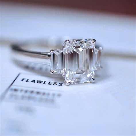 three stone emerald cut engagement ring 2019 jewelry
