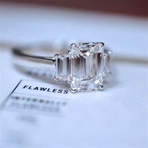 three stone emerald cut engagement ring 2018 jewelry With 3 wedding rings