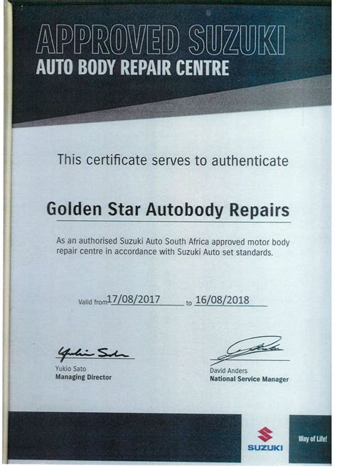 Suzuki Certification by Certificates Golden Auto Repairs