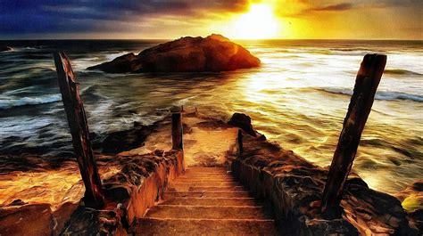 artwork nature sea sunset sunlight rock coast steps