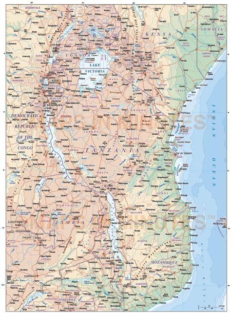 tanzania digital vector political road rail map