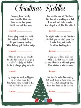 kids fun christmas riddle game   flavors  design tpt