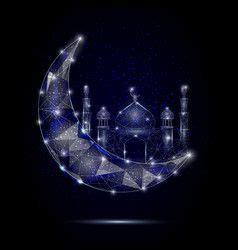 islamic mosque moon geometric polygonal vector images
