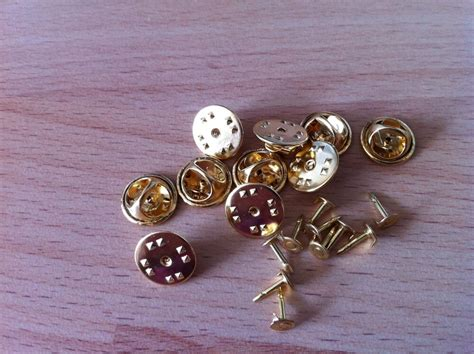 gold brass coloured metal hat pin backs tacs lapel pins butterfly clasp ebay