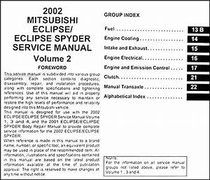 2002 Mitsubishi Eclipse And Spyder Repair Shop Manual Original 4 Volume Set