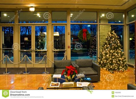 christmas tree  office lobby stock photo image