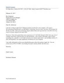 Sle Cover Letter For Internship In Information Technology Information Technology Manager Cover Letter Freewordtemplates Net