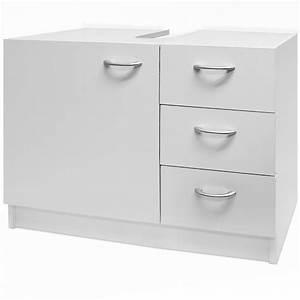 meuble rangement sous lavabo avec 3 tiroirs blanc With rangement sous vasque salle de bain