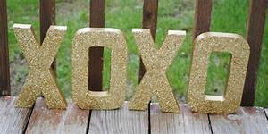 8 gold xoxo glitter stand up letters wedding decor With stand up letters for weddings