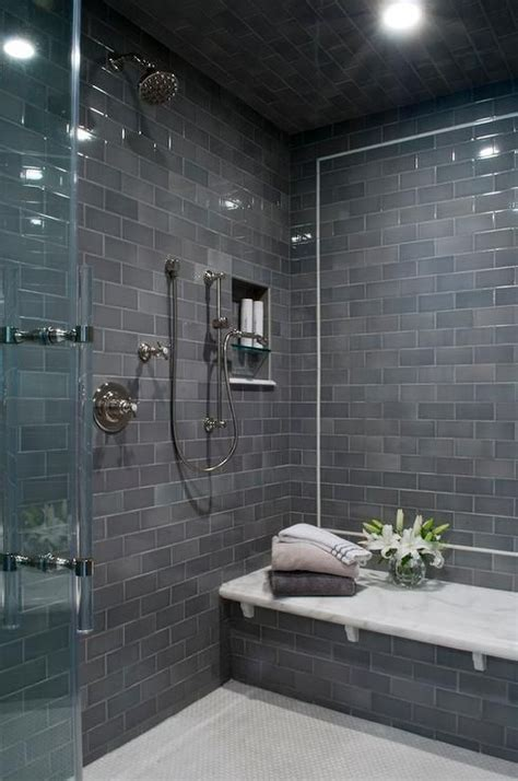 contemporary shower boasts  gray subway tiled ceiling