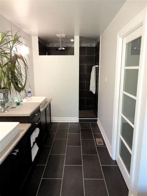 modern black floor l my master bathroom modern budget friendly