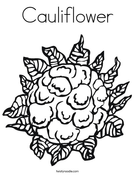 cauliflower coloring page twisty noodle