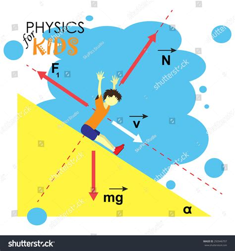 Science Kids Cartoon Kid Studying Physics Stock Vector