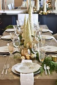 Gold, And, Silver, Snowflake, Christmas, Table, Setting