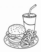 Coloring Junk Burger Drink Pages Printable Pizza Sheets Discover Juice Ice sketch template