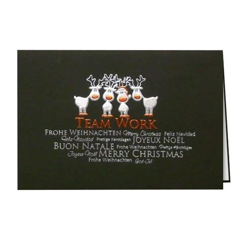 lustige weihnachtskarte mit rentier comic mehrsprachig