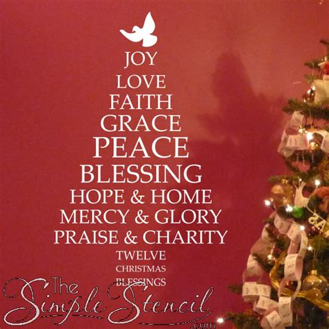 christmas blessings tree custom vinyl stickers letters